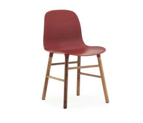 Normann Copenhagen Stol formular rød brun plast tømmer 48x52x80cm