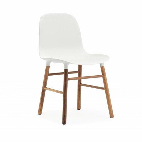 Normann Copenhagen forma de silla blanco marrón 48x52x80cm madera plástica