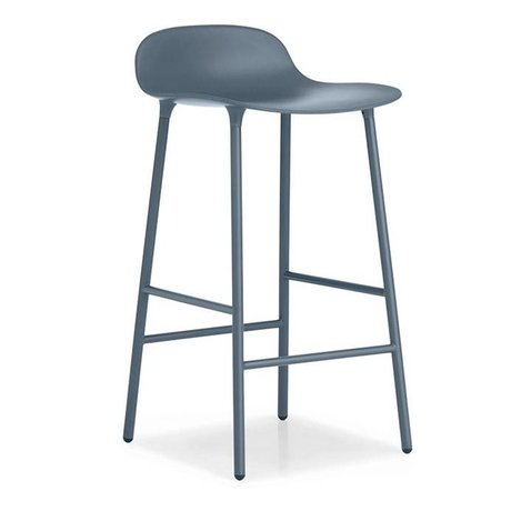 Normann Copenhagen Bar chair shape blue plastic steel 44x44x87cm