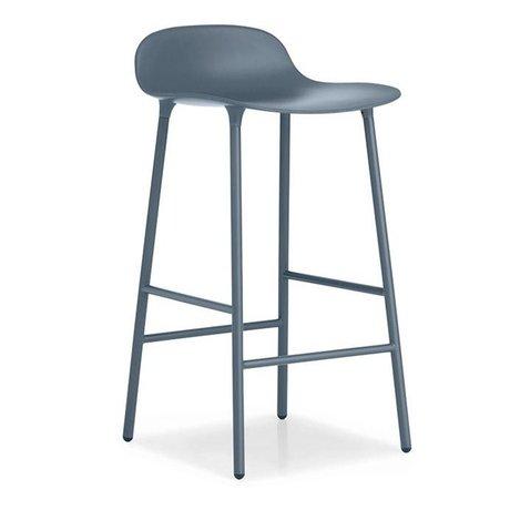 Normann Copenhagen forma sgabello di plastica 44x44x87cm acciaio blu