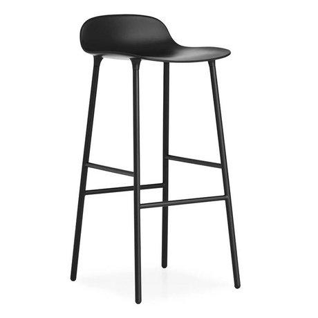 Normann Copenhagen Bar chair shape black plastic steel 44x44x87cm