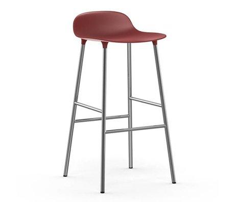 Normann Copenhagen Barstuhl Form rot Kunststoff Chrom 53x45x87cm