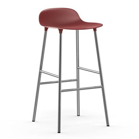 Normann Copenhagen Bar chair shape red plastic chrome 53x45x87cm