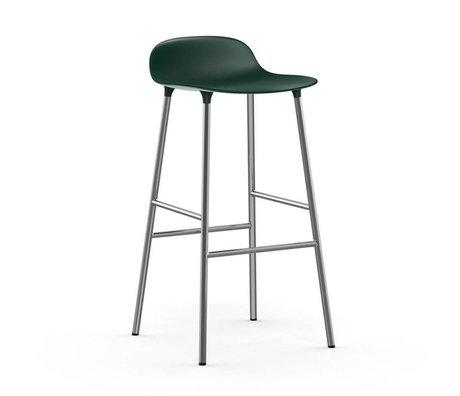 Normann Copenhagen Barstuhl Form grün Kunststoff Chrom 53x45x87cm