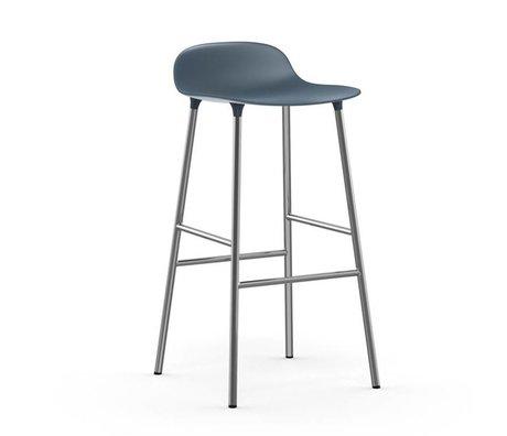 Normann Copenhagen Bar chair shape blue plastic chrome 53x45x87cm
