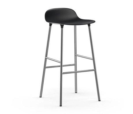 Normann Copenhagen Bar chair shape black plastic chrome 53x45x87cm