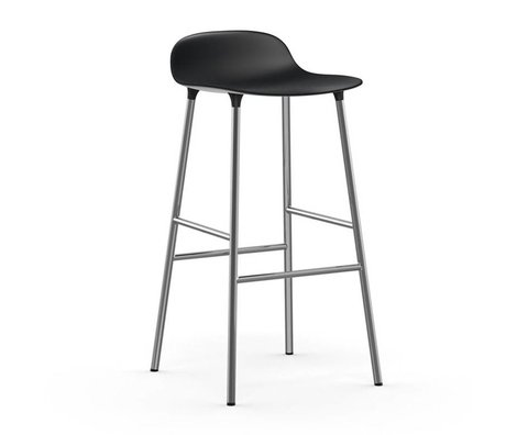 Normann Copenhagen Barstuhl Form schwarz Kunststoff Chrom 53x45x87cm