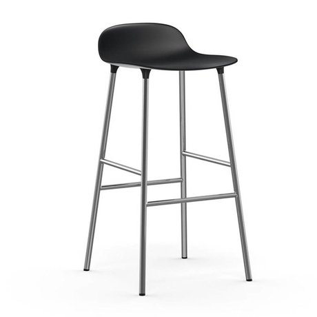 Normann Copenhagen Bar chair shape black plastic chrome 53x45x87cm