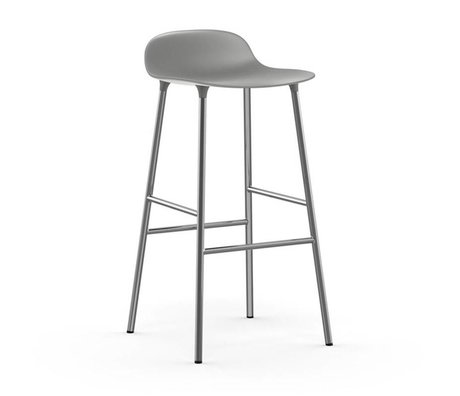 Normann Copenhagen Bar chair shape gray plastic chrome 53x45x87cm