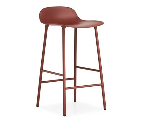 Normann Copenhagen Dışkı formu kırmızı plastik çelik 42,5x42,5x77cm
