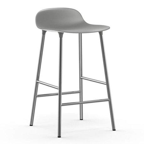 Normann Copenhagen Bar chair shape gray plastic chrome 43x42,5x77cm