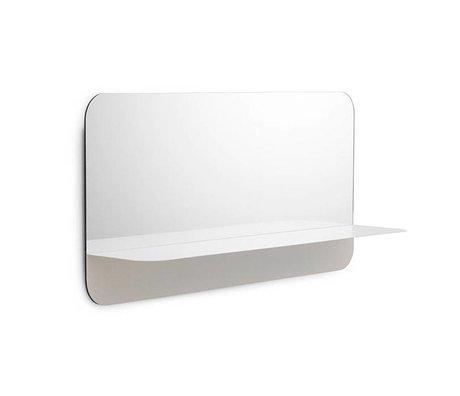 Normann Copenhagen Wandspiegel Horizon weiß Spiegelglas Stahl 80x40cm