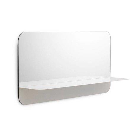 Normann Copenhagen Espejo de pared Horizonte blanco espejo de cristal de acero 80x40cm