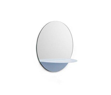 Normann Copenhagen Spejle Horizon omkring lyseblå plade glas stål Ø34cm