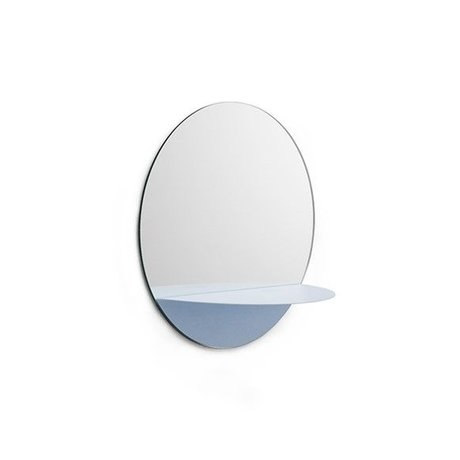 Normann Copenhagen Wall mirror Horizon round light blue Mirror glass steel Ø34cm