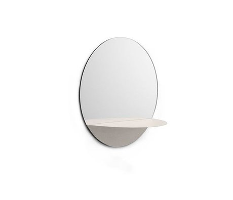 Normann Copenhagen Wall mirror Horizon round white Mirror glass steel Ø34cm