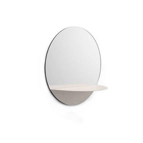 Normann Copenhagen Specchio a parete Horizon rotondo piatto bianco Ø34cm d'acciaio di vetro
