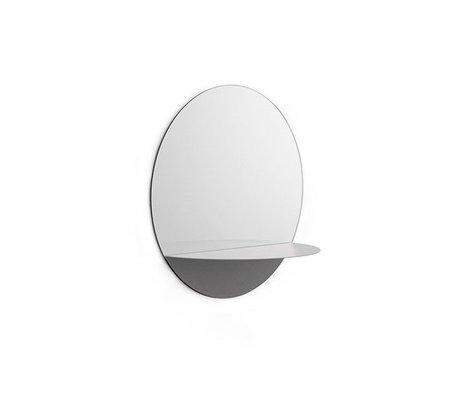 Normann Copenhagen Horizonte pared del espejo redondo de acero de cristal del espejo gris Ø34cm