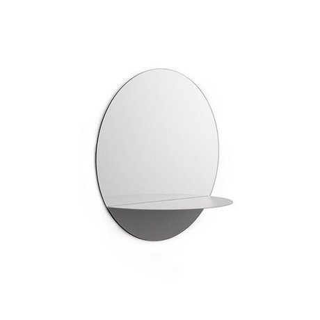 Normann Copenhagen Wall mirror Horizon round gray Mirror glass steel Ø34cm