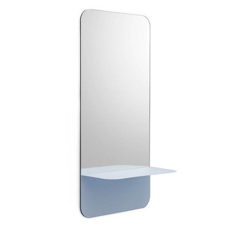 Normann Copenhagen Wall mirror Horizon vertical light blue Mirror glass steel 40x80cm