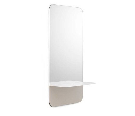 Normann Copenhagen Wall mirror Horizon vertical white Mirror glass steel 40x80cm