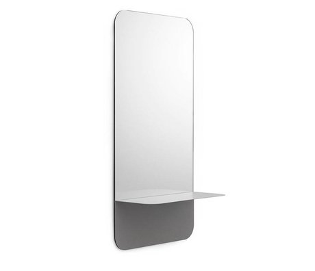 Normann Copenhagen Wall mirror Horizon vertical gray Mirror glass steel 40x80cm
