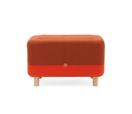 Normann Copenhagen Puf Sumo turuncu kırmızı kumaş ahşap 65x45x40cm