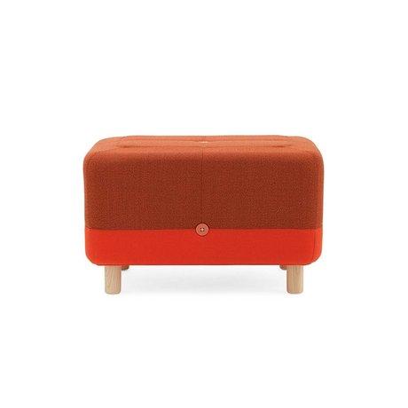 Normann Copenhagen Pouf Sumo tessuto arancio rosso legno 65x45x40cm