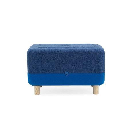 Normann Copenhagen Pouf bois Sumo tissu bleu 65x45x40cm