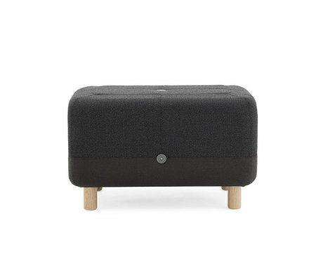 Normann Copenhagen Pouf Sumo dark gray fabric wood 65x45x40cm