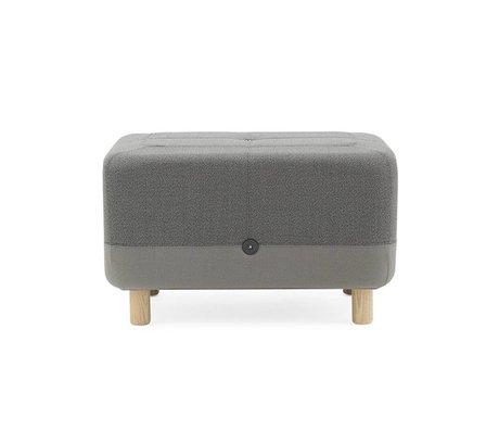 Normann Copenhagen Pouf bois Sumo tissu gris 65x45x40cm