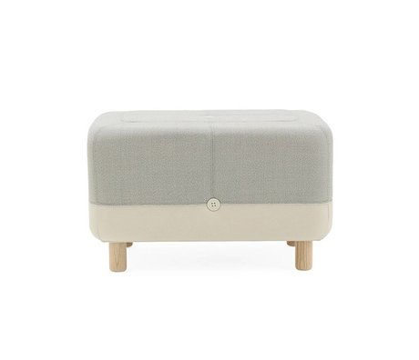 Normann Copenhagen Pouf Sumo light gray fabric wood 65x45x40cm