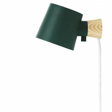 Normann Copenhagen Duvar lambası Rise yeşil çelik kereste 17xØ10x9,7cm