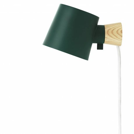 Normann Copenhagen Wall lamp Rise green steel wood 17xØ10x9,7cm