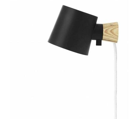 Normann Copenhagen lámpara de pared Rise acero negro 17xØ10x9,7cm madera