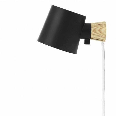 Normann Copenhagen Artış duvar lambası siyah çelik ahşap 17xØ10x9,7cm