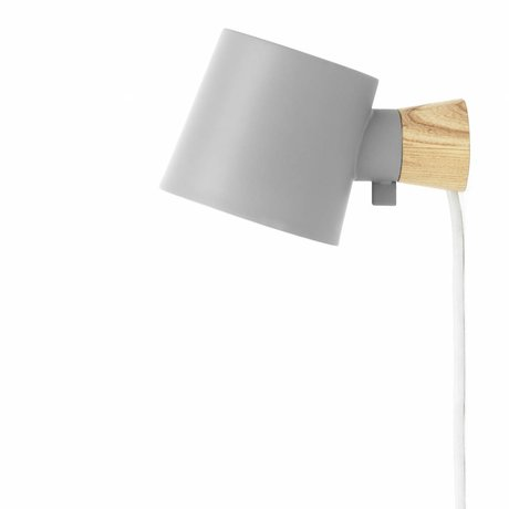 Normann Copenhagen Wandlampe Rise grau Stahl Holz 17xØ10x9,7cm