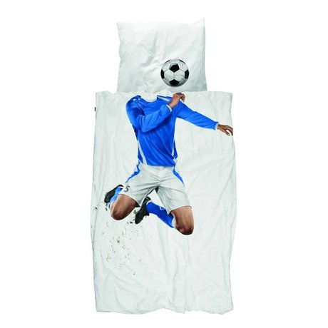 Snurk Linen Soccer Champ blå bomuld 200x200 / 220cm