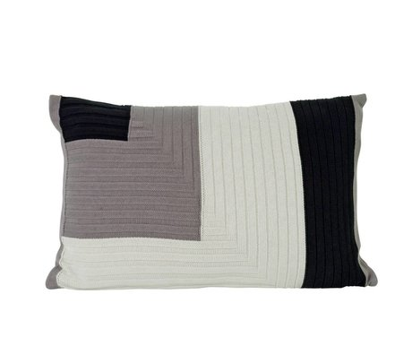 Ferm Living Coussin Angle en tricot de coton gris 60x40cm