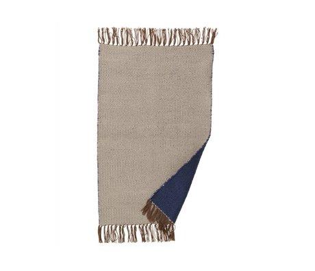 Ferm Living Tapis Nomad 60x90cm polyester recyclé bleu foncé