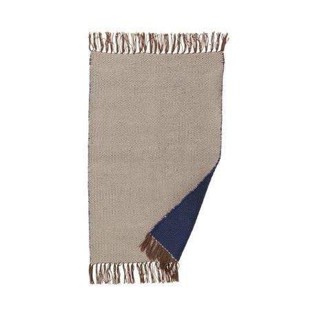 Ferm Living Tæppe Nomad mørkeblå genbrugt polyester 60x90cm