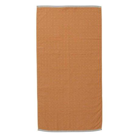 Ferm Living Havlu Sento hardal sarı renkli organik pamuk 50x100cm