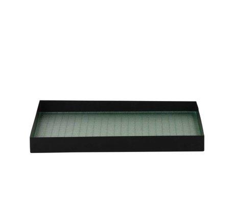 Ferm Living Plateau Haze verre métallique noir M 33x24x3,2cm