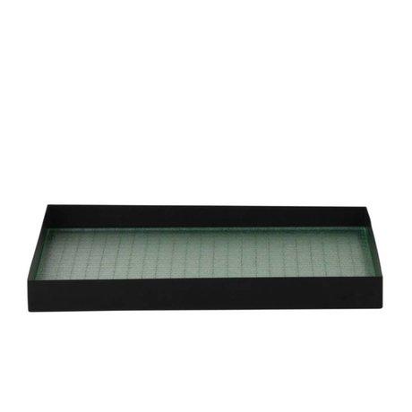Ferm Living Bandeja Haze metálico negro 33x24x3,2cm vidrio M