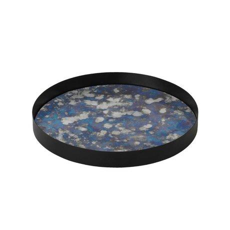 Ferm Living Couplé plateau métallique bleu verre coloré L Ø30x3,2cm