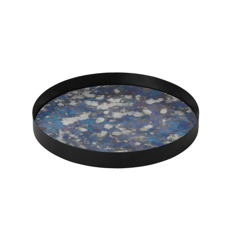 Ferm Living Coupled Tablett blau metallic farbigen Glas L Ø30x3,2cm