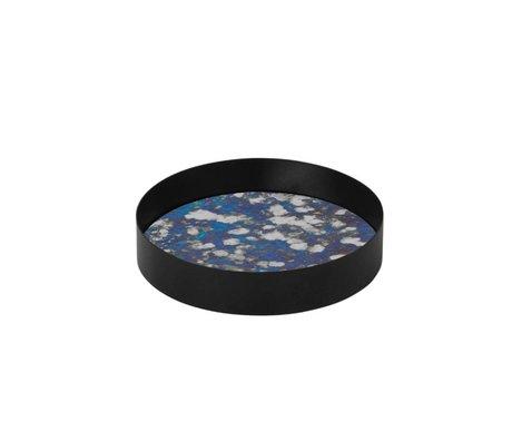 Ferm Living Birleştiğinde tepsi mavi cam Metallrahme S Ø16x3,2cm