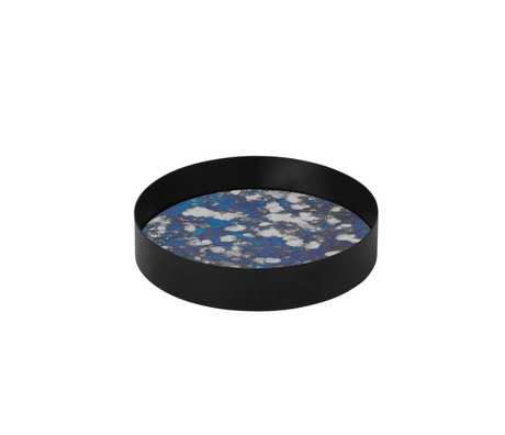 Ferm Living Coupled tray blue metal frame glass S Ø16x3,2cm