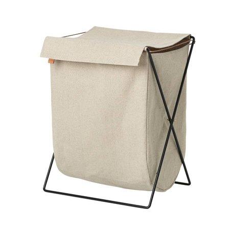 Ferm Living Clotheshorse Herman schwarz de tela color beige 65x50x40cm de metal