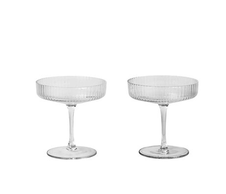 Ferm Living Champagne glass ripple transparent glass set consisting of two Ø10,5x11cm